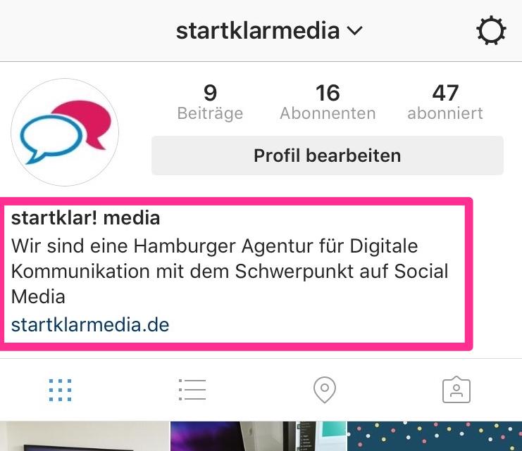 Instagram Profil startklar media Bio